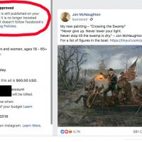 Facebook punishes Trump 'Crossing the Swamp' painting post