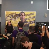 15 MINUTES UP? Alexandria Ocasio-Cortez plays to small audience