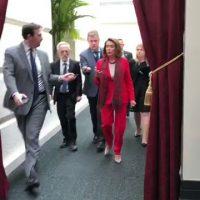 Raspy, mumbling Pelosi struggles to explain why she disinvited Trump