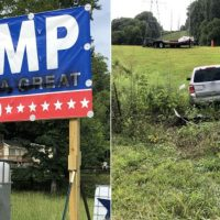 Student faces five years in prison for vehicle attack on Trump sign — blames 'anxiety attack from dealing with college school work'