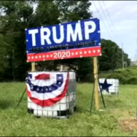 Woman drives through fence to vandalize Trump 2020 sign — ditches SUV tangled in barbed wire
