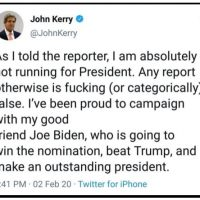 Bernie bros cackle with John Kerry 'reporting for duty' again