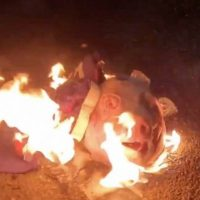 Portland Black Lives Matter Rioters Burn Trump Flag and Pig Head While Shooting Mortars at Federal Courthouse